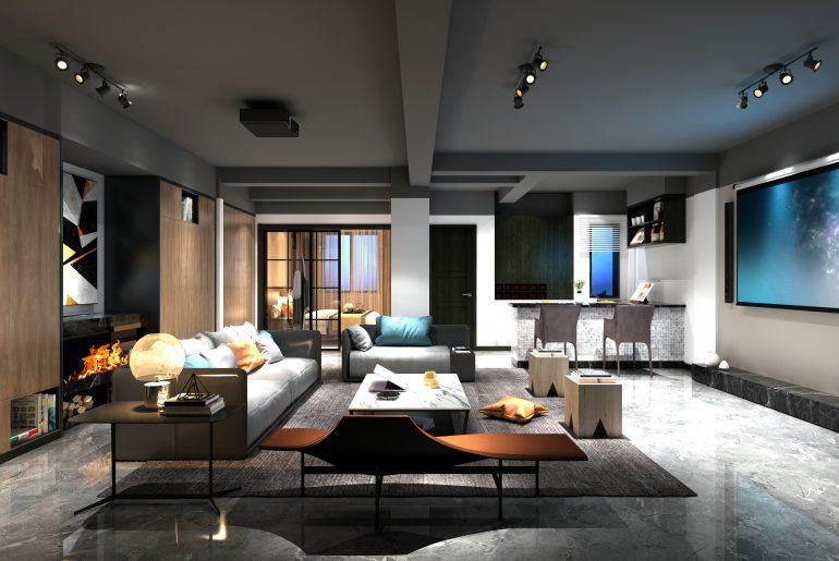 living room with cinema home setup